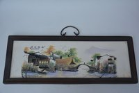 Antique Old QingDynasty porcelain table painting,Rural scenery,Hand Painted Decoration /Collection/ crafts,Free shipping