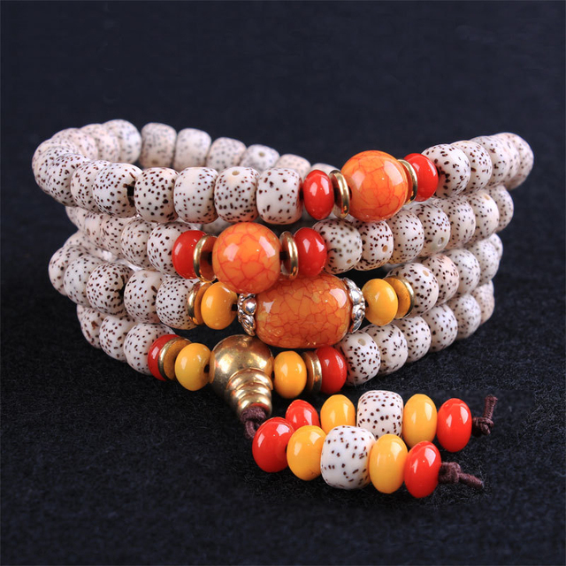 Pure Natural High Quality Beeswax bodhi seed bracelet 108 Tibetan Bead Bracelets Necklace Prayer Mala Beads Women Jewelry