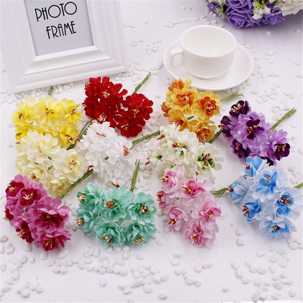 Новый 30 шт. Мини Шелковый Искусственные цветы розы Букет Многоцветный Скрапбукинг цветок листья тычинки свадебное украшение коробка Цветок