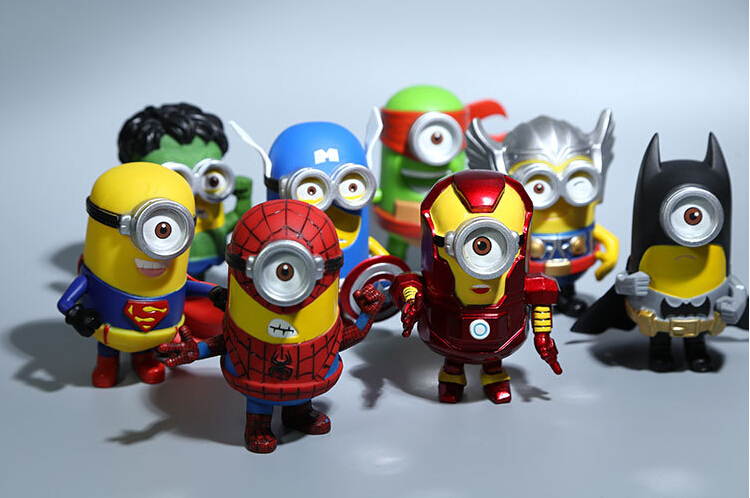 8pcs/set 3D Eye Minion Cos Avengers Superheroes Iron man Spriderman Hulk Thor PVC Action Figures Kids Toys 3d eye minions cos the avengers superheroes iron man captain american pvc action figures kids collection model toys 12cm