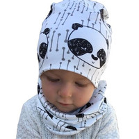 New Style Baby Hat Cotton Scarf Infant Hats Sets 0 3Y Child Caps Scarf Baby Cap