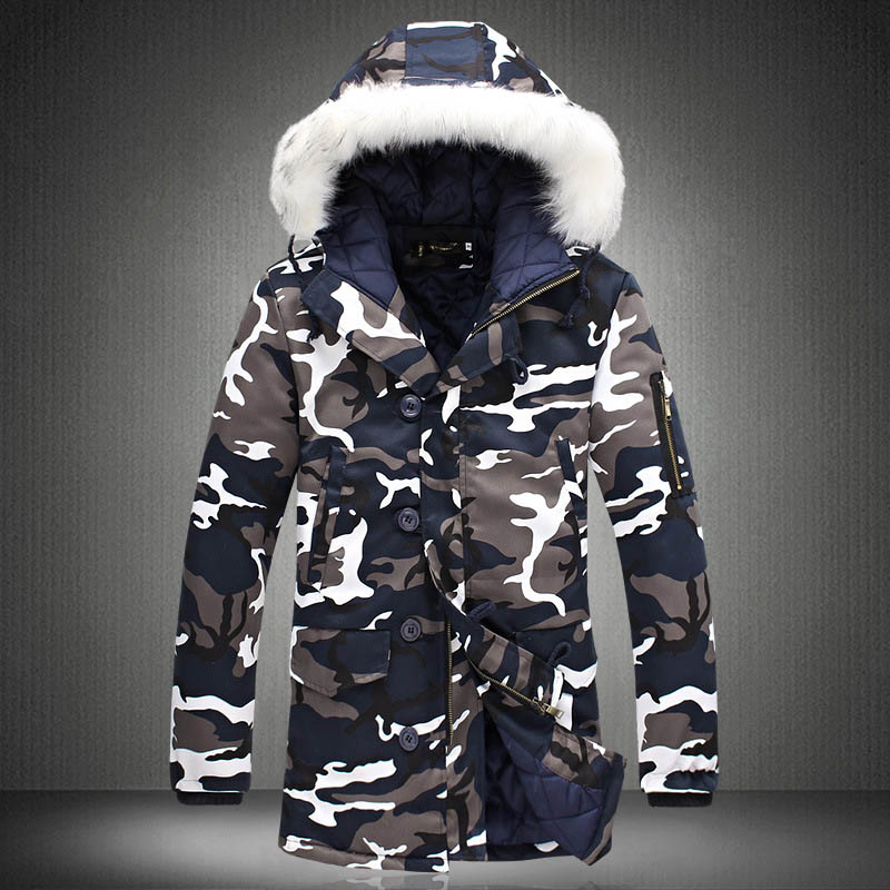 Men Camouflage Hooded Coats Camo Casual Parkas Outerwear Faux Fur Collar Warm Jacket -MX8