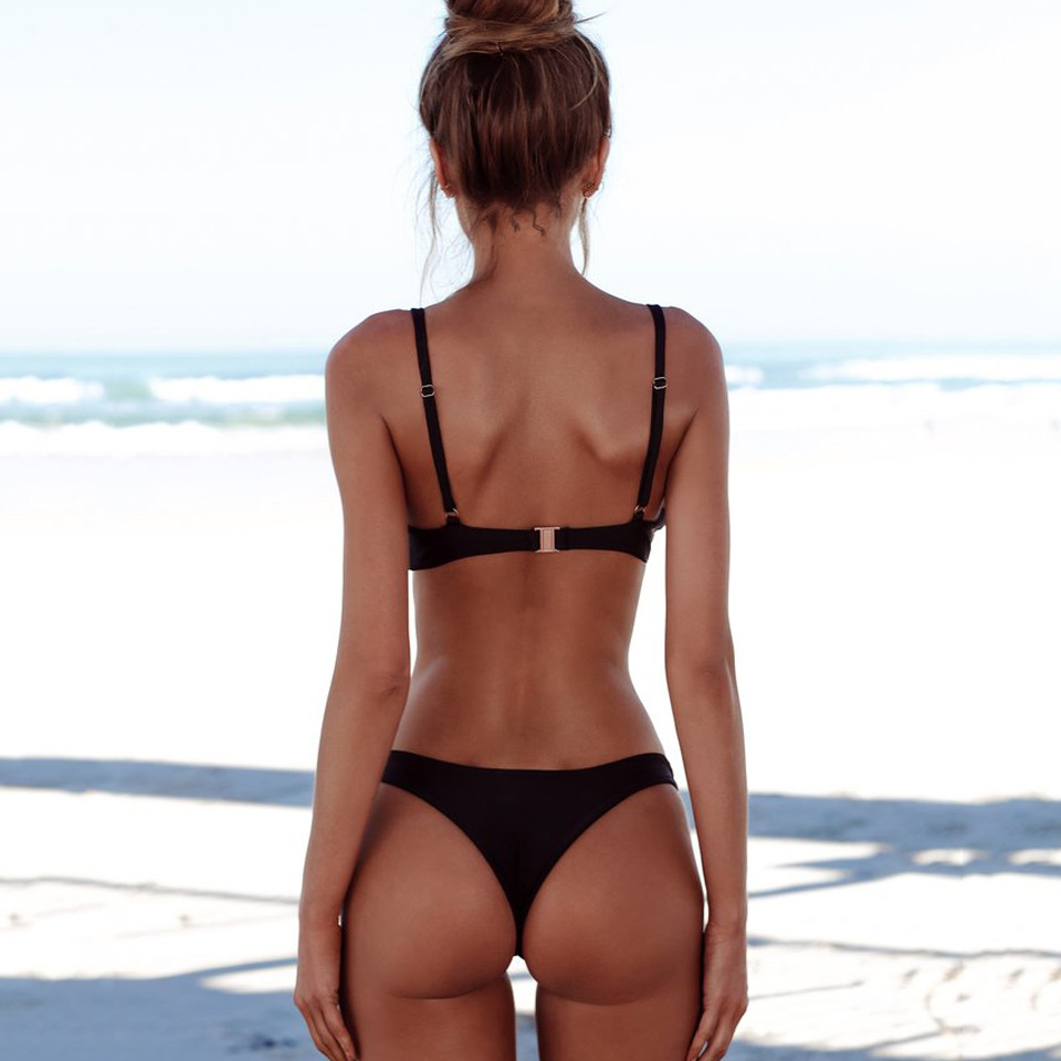 Sexy Thong Bikini 2019 plus size Swimwear Women Brazilian Bikini Set Push Up Swimsuit Solid Beachwear Bathing Suit Biquini XXL-2