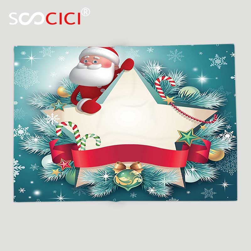 Christmas Fleece.Us 47 83 48 Off Custom Soft Fleece Throw Blanket Christmas Decorations Collection Santa Claus Star Banner Snowflakes Ribbon And Candy Cane Xmas In