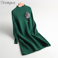 autumn winter dress women pullover knitted sweater dress red green grey black office ladies work wear warm dresses