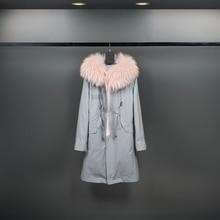 Dur Bonbon Winter Japanese Denim Blue Fur Coat for Women with Pink Raccoon Dog Fur Hood Collar and Cotton Lining Lady Long Coat