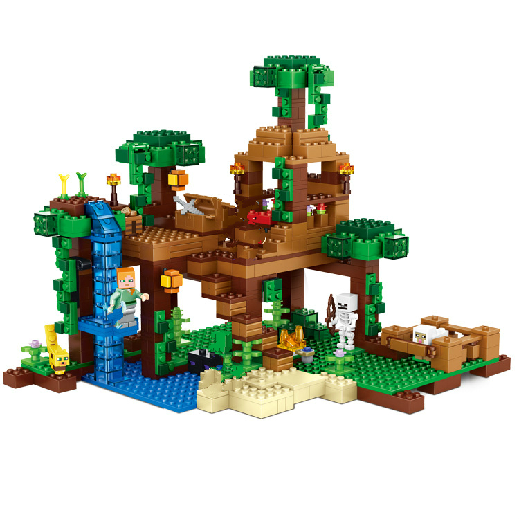 718PCS OUR WORLD The Jungle Tree House Building Blocks Figures Toys Compatible font b lepin b