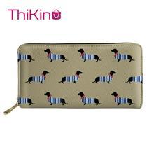 Thikin Dachshund Animals Long Wallets Zipper Phone Bag Card Holder for Ladies Clutch Purse Carteira Handbags Notecase 2019