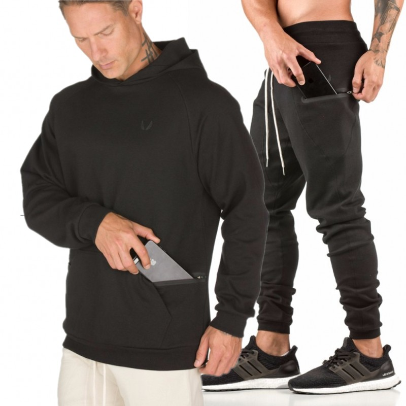 9f85f4c33 Gyms de los hombres establece 2018 moda Sportswear Tracksuits Sets hombres  Hoodies + Pantalones casual Outwear trajes Chandal Hombre Completo -  a.dupa.me