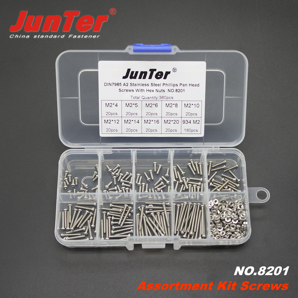 360pcs <font><b>M2</b></font> (<font><b>2mm</b></font>)*4/5/6/8/10/12/14/16/20 A2 Stainless Steel Phillips Pan Head Machine Screws With Hex Nuts Assortment Kit NO.8201 image