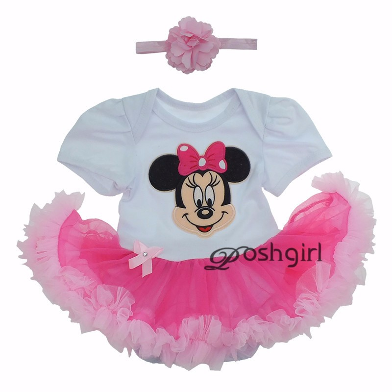 Cartoon Minnie BEBE Easter Costumes Rompers Tutu Dress One Piece and Headband Baby Girls Clothing Newborn Toddler Infant Clothes