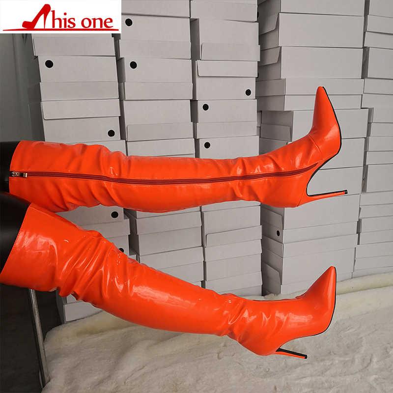 2019 nouveau cuissardes bottes talons aiguilles Sexy fermeture éclair sur le genou bottes longues laquées vernis Orange grande taille 35-47