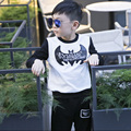 boys T-shirt Korean version of the new leather bat long sleeved T-shirt collar stitching shirt of 2016 autumn