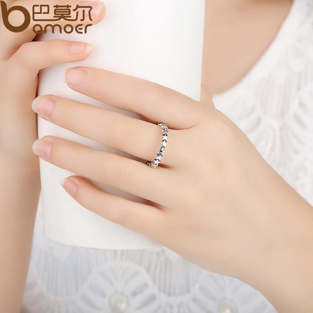 BAMOER HOT SALE Silver 925 Stackable Finger Ring For Women Wedding 100% 925 Sterling Silver Jewelry 2019 HOT SELL PA7151 2