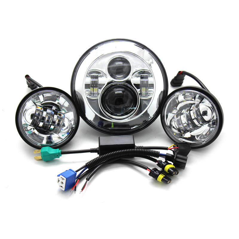Set 7 Harley Daymaker Round H4 Hi/Low Beam LED Headlamp with 4-1/2 Passing Lamps 4.5 Led Fog Light for Harley Davidso 4pcs set 7 daymaker projector led headlamp 4 5inch auxiliary motorcycle led fog light for harley touring softail trike flhtcuse