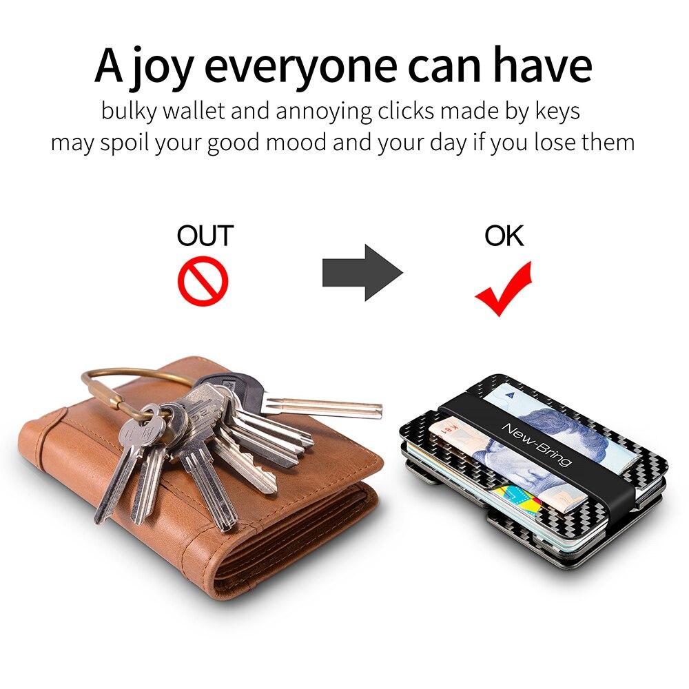 NewBring ألياف الكربون الائتمان حامل بطاقة و مفتاح المنظم مع RFID مكافحة اللص متعددة الوظائف بطاقة المحفظة الذكور ش  القرص تشمل-في حافظات البطاقات والهويات من حقائب وأمتعة على  مجموعة 3