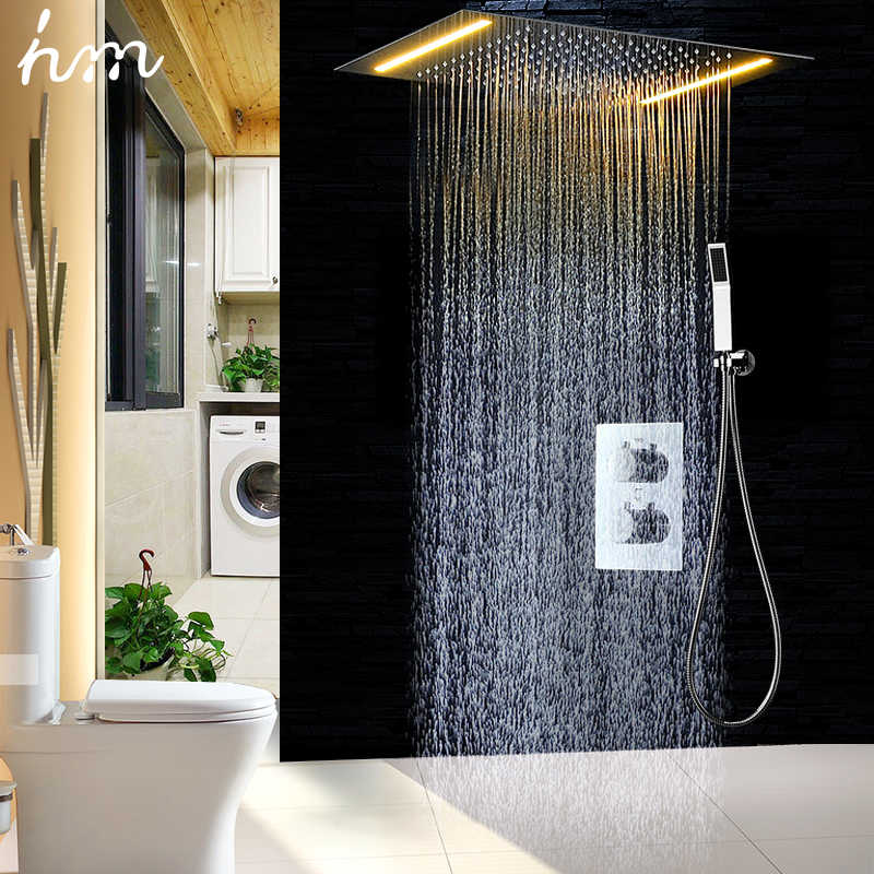hm 2 Ways Luxury Ceiling Mounted Shower Set Thermostatic Mixer Bathroom Led Rainfall LED Shower Head 360*500mm Color Shower