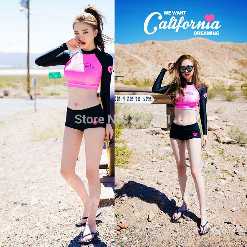 a06062682f Korea Sexy Rashguard Women Long Sleeve Swimwear Rash Guard Surf Two Piece  Crop Up Swim Bodysuit Bathing Suit Beach Wear 5630-in Body Suits from  Sports ...