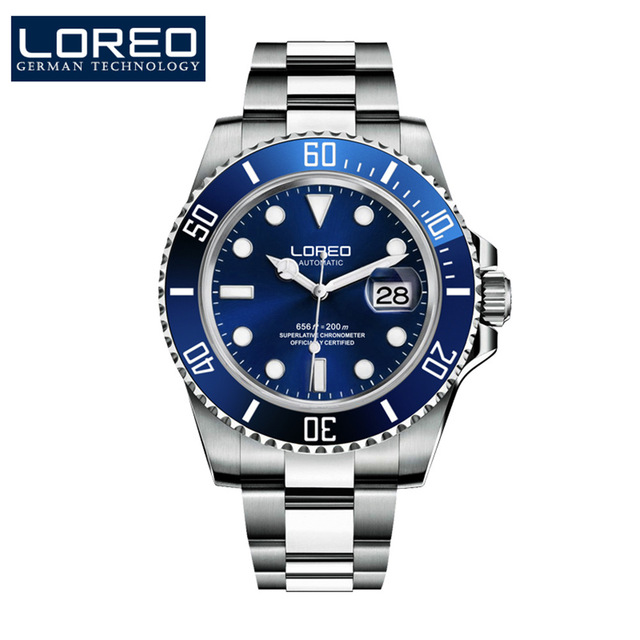 Men Diver Top Luxury Brand 200M Water Resistant Luminous Sapphire Stainless Steel Automatic Mechanical Wristwatch