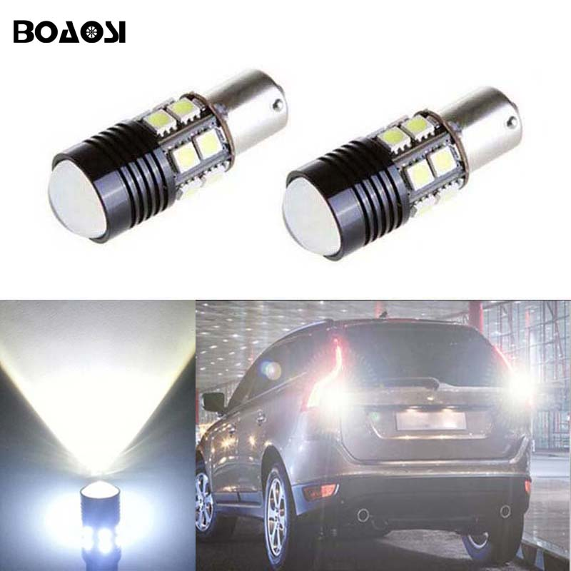 BOAOSI 2x Error Free LED Bulbs For Backup Reverse Light 1156 p21w ba15s R5 CREE Chip For Volvo v50 v60 v70 xc90 xc60 s80 s40 c30 2 x error free super bright white led bulbs for backup reverse light 921 912 t15 w16w for peugeot 408