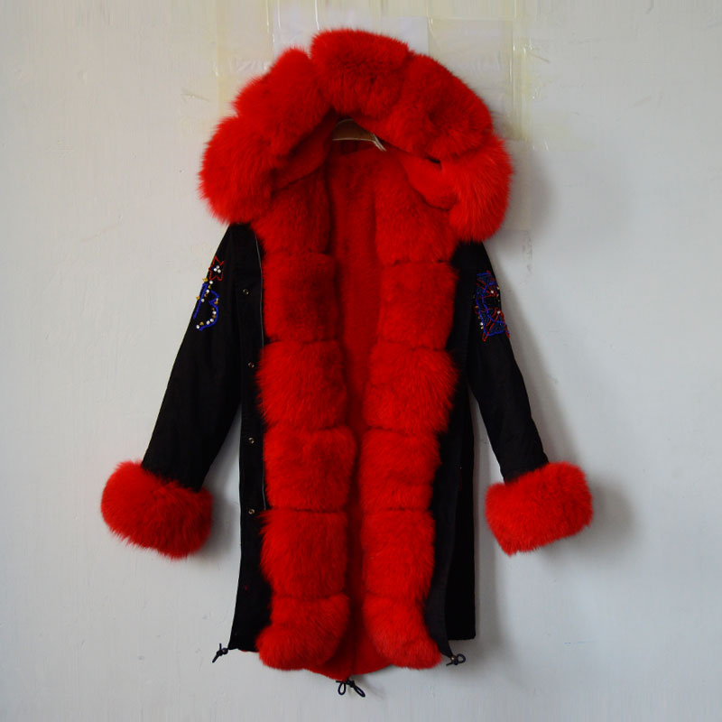 2016 new Arrival black beading women jacket red faux fur lining and fox fur collar cuff,UK beading long style coat