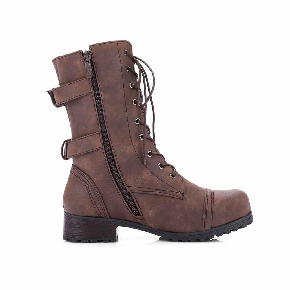 Retro Büyük Boyutu 35-43 Serin Ayakabı Kemer Tokası Moda Tıknaz Topuklu Kadın Ayakkabı Kadın Eğlence orta buzağı çizmeler Kadın Botları