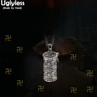Uglyless Real 925 Sterling Thai Silver Unisex Open Gaudencio Box Pendants without Chains Buddhism Mantra Cylinder Jewelry Bijoux