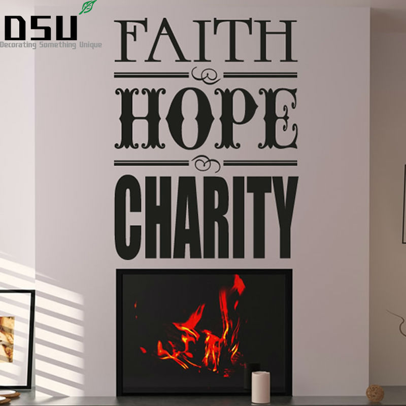 Sales Faith Hope Charity Inspirational Wall Sticker Quotes Vinyl Removable Wallpaper Waterproof Art Decal Living Room Home Decor image