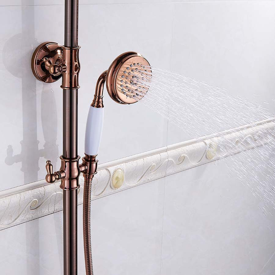 Shower Faucets Luxury Bath Shower Sets Bathroom Wall Mounted Hand Held Antique Brass Shower Head Kit Shower Faucet Set G in Shower Faucets from Home Improvement