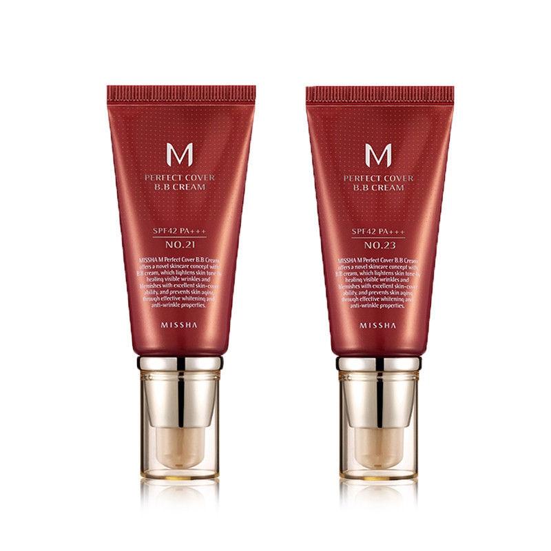 MISSHA M Perfekte Abdeckung BB Creme 50ml #21 #23 #27 CC Creme Concealer Grundlage Feuchtigkeits Bleaching make-up Koreanische Kosmetik