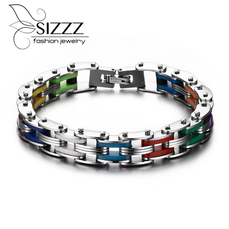 Silicona pulsera de acero inoxidable hombres brazalete Color del arco iris 316L Acero inoxidable corchete pulsera de moda pulsera para hombres