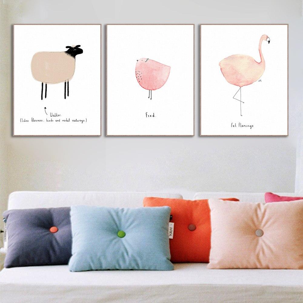 Aquarela Flamingo Baleia Raposa Fam Lia Animal Canvas Art Print  ~ Quarto De Bebe Parede Com Poster Decoração Quarto