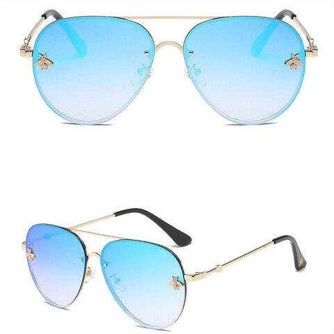 ASOUZ 2019 new fashion ladies sunglasses UV400 metal oval frame bee sunglasses classic brand design sports driving sunglasses Islamabad