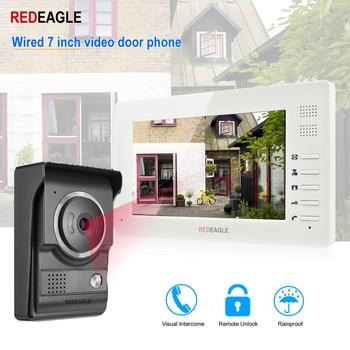 REDEAGLE Home Video Door Phone Doorbell Intercom System 7 inch 1024x600 LCD Monitor with Unlock 700TVL IR Night Vision Camera