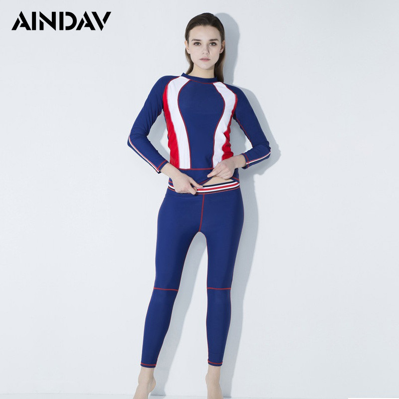 Amicable Aindav Two Pieces Long Sleeve Women Swimsuits Rashguard Swim Shirts Womens Swimwear Sports Surf Clothing Anti-uv Swimming Suit Chills And Pains Wetsuit