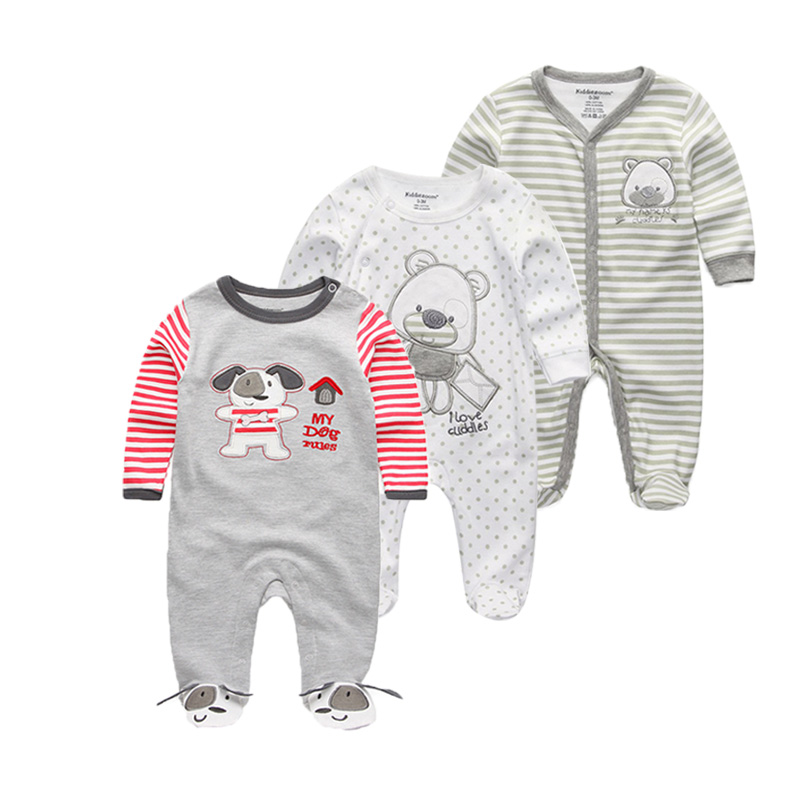3 PCS/lot Newborn long sleeve Baby Rompers 100% Cotton Baby Pajamas O-neck Baby Clothes baby Jumpsuits soft Infant clothing baby rompers o neck 100