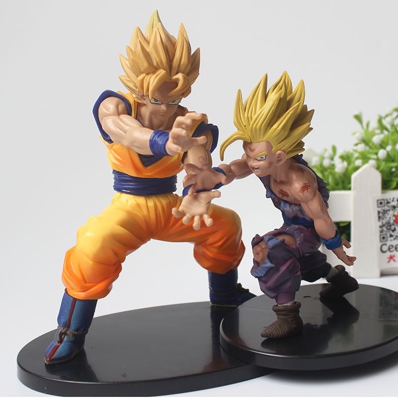 Anime Dragon Ball Z Super Saiyan Action Figures Son Goku & Gohan Kamehameha Model Toys CEECILIO 1pc lot chocolate goku anime dragon ball z figure super saiyan pvc action figures brinquedos collectible model kids toys 29cm