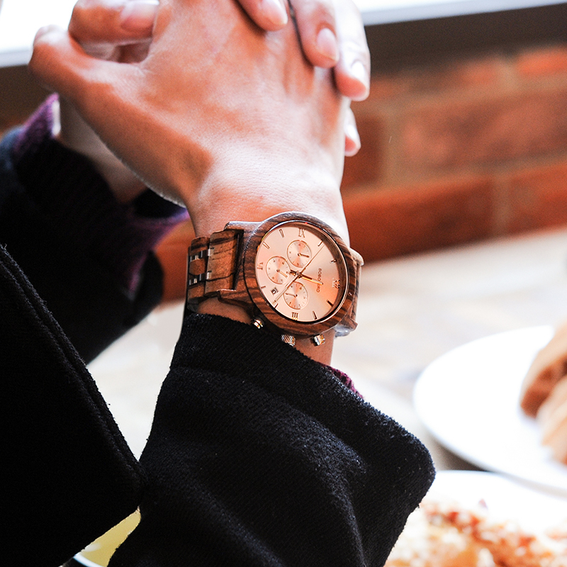 BOBO BIRD P19 Wooden Mens Quartz Watches Date Display Business Watch Man Ebony Zebrawood Options Valentines