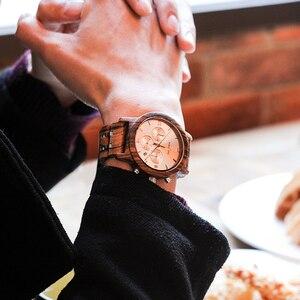 Image 3 - ボボ鳥P19 木製メンズクォーツ日付表示ビジネスマン腕時計黒檀ゼブラウッドオプションバレンタインクリスマスギフト