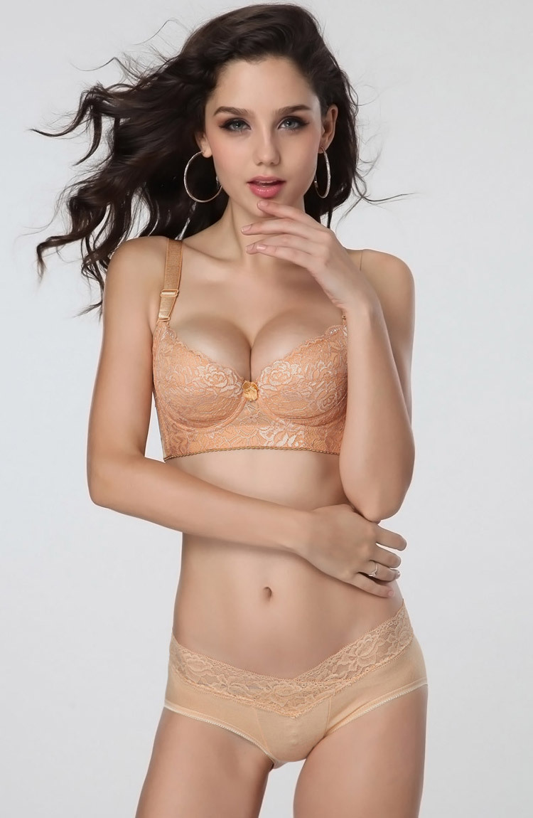 Thin big yards gathered sexy underwear beauty back gold five gather bra photo shoot