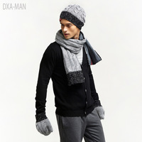 2017 Rushed Sale Adult Fashion Patchwork Acrylic Men Quality Winter Knitted Scarf Hat Gloves Set Male Commercial Thermal Piece