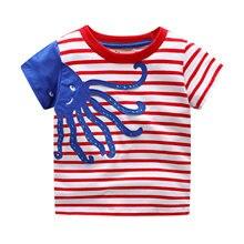 2019 summer children tshirts  Short Sleeve Octopus cartoon print T-shirt  O-Neck Casual Kid Boy Sport T-shirt for girls 2-7Y