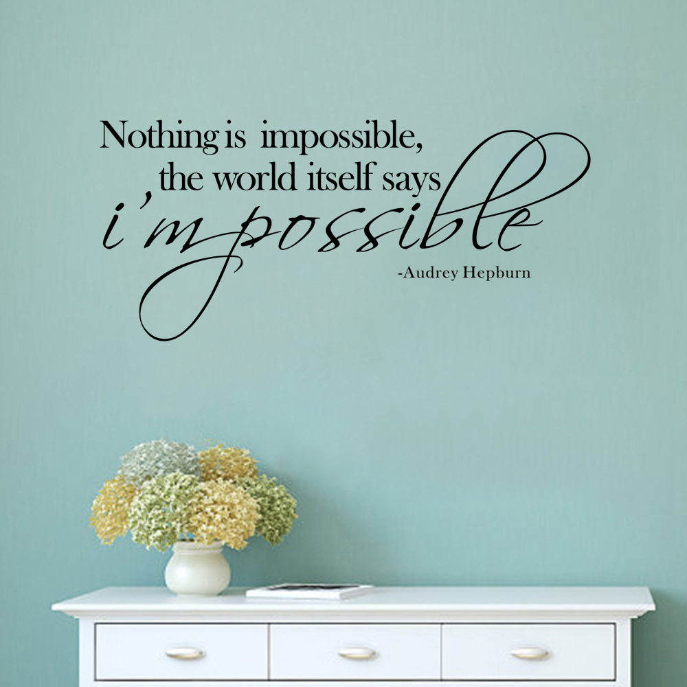"""NOTHING IS IMPOSSIBLE /""""I/'M POSSIBLE!/"""" Vinyl Wall Art Decal Words Lettering"""