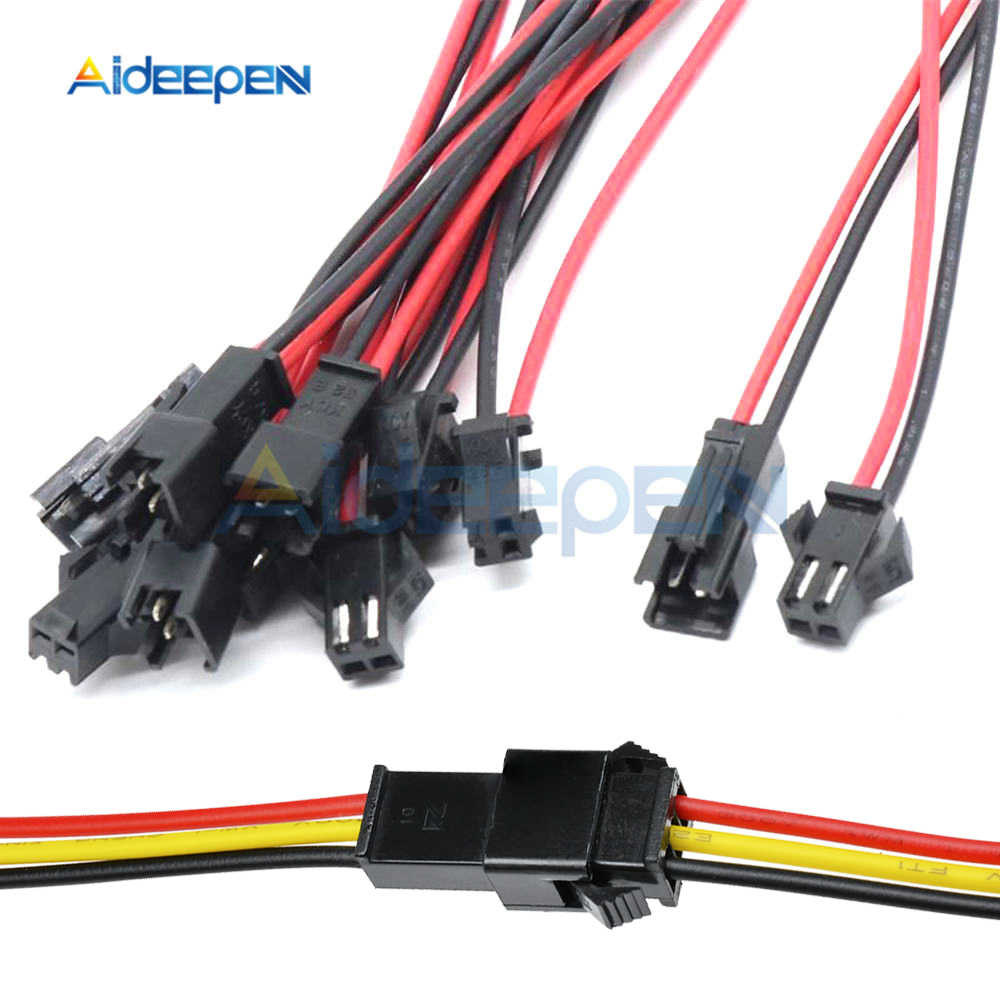 5 Pairs 10Pairs 10CM/15CM/30CM Long JST SM 2P 3P Plug Male to Female Wire Connector LED Connectors 2 Pins 3 Pins