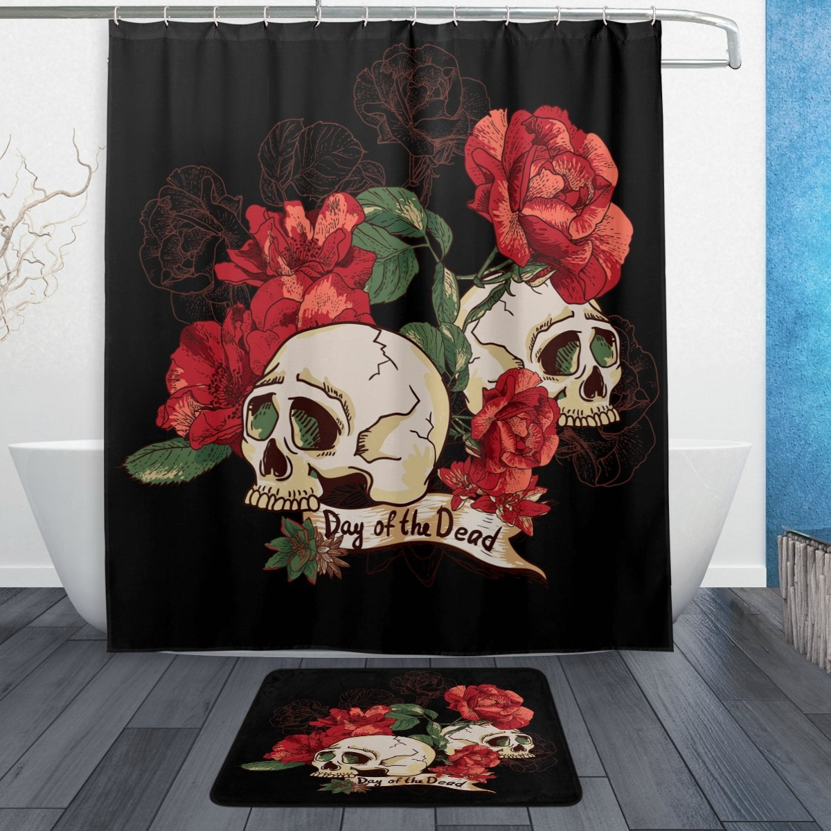 Day of the Dead Flower Sugar Skull Waterproof Polyester Fabric Shower Curtain with Hooks Doormat Bath Bathroom Home Black Red