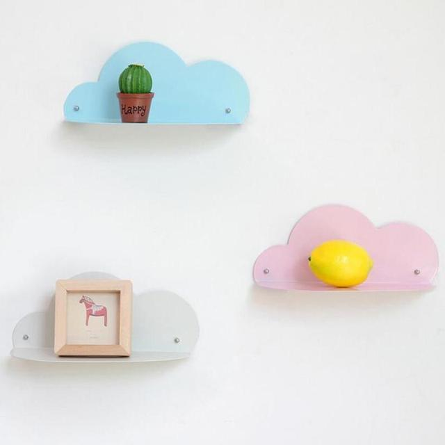 Cloud Shaped Iron Storage Rack Holder Wall Shelves Hanging Decorative Album  Flower Pos Phone Holder Organizer