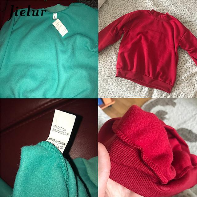 Jielur 9 Solid Colors Harajuku Pink Hoodie Women Fleece Chic Japanese Kpop Sweatshirt Blue Kawaii Sudadera Mujer M-XXL Dropship