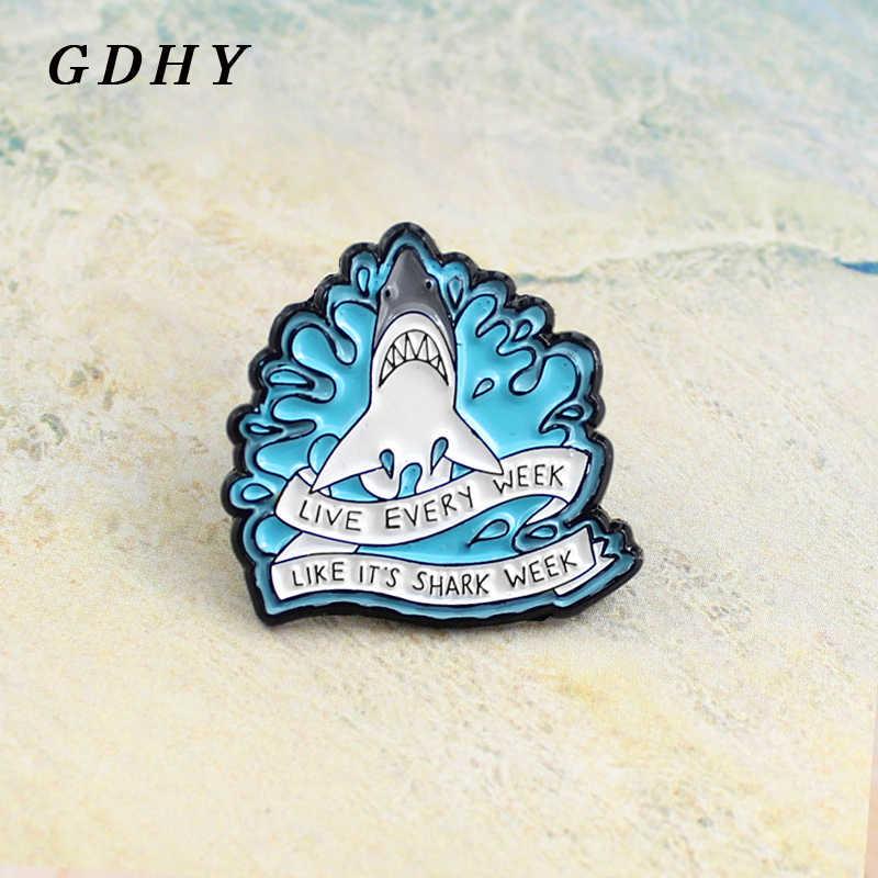 Gdhy Enamel Hiu Bros Hidup Setiap Minggu seperti Shark Week Hiu Ganas Surf Blue Putih Pita Lencana Pin Anak Hadiah