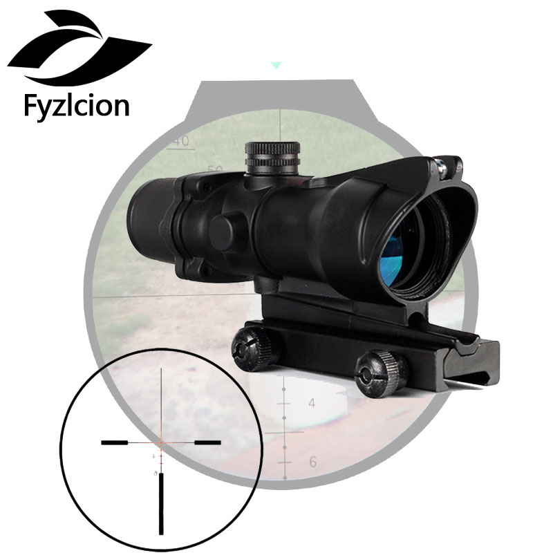 4X32 Hunting Real Optical Fiber Scope Red Green Glass Etched BDC or Chevron Reticle Sights 4x32 hunting real optical fiber scope red green glass etched bdc or chevron reticle sights