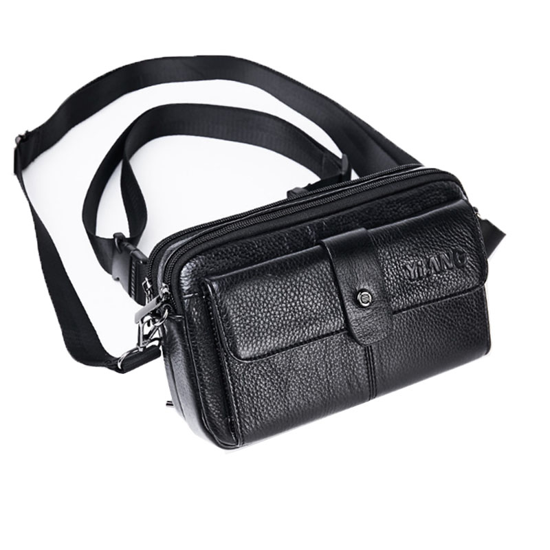 Genuine Leather Bag Cowhide Men Crossbody Bags Brand Famous Fashion Fanny Waist Belt Male Sling Chest Pack Small Shoulder Bag